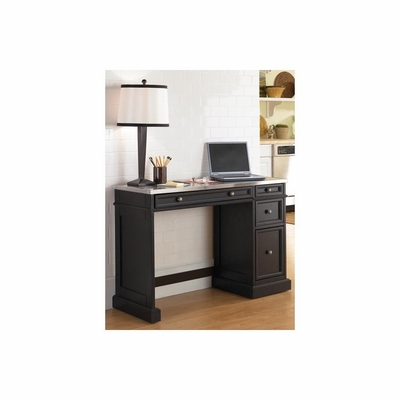 Traditions Black Utility Desk with Stainless Steel Top - Home Styles - HS-5003-792