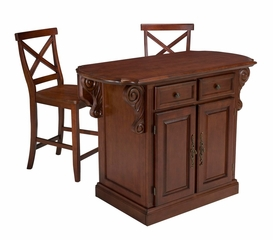 Traditions Kitchen Island with Two Bar Stools in Cherry - Home Styles - 5005-948