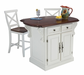 Traditions Kitchen Island with Two Bar Stools in White / Cherry - Home Styles - 5007-948