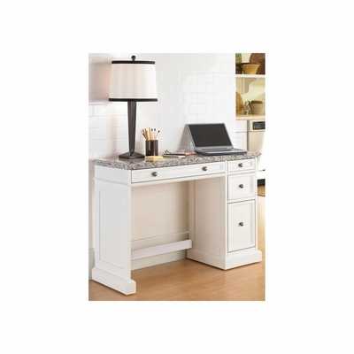 Traditions White Utility Desk with Salt and Pepper Granite Top - Home Styles - HS-5002-793