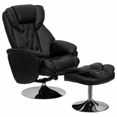 Transitional Black Leather Recliner and Ottoman with Chrome Base - BT-7807-TRAD-GG