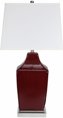 Transitional Wine Red Table Lamp - Set of 2 - 901496