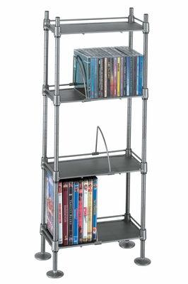 Translucence 4 Tier Media Rack 100 CDs or 51 DVDs Blu-Ray Titanium With Black - Atlantic - SHF4T77