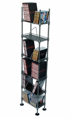 Translucence 6 Tier Media Rack 150 CDs or 85 DVDs Blu-Ray Titanium With Black - Atlantic - SHF6T77