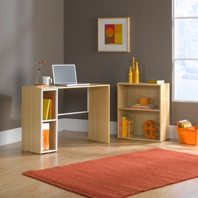 Treble Desk Bookcase Combo Rice / White Oak - Sauder Furniture - 412182