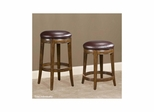 Trevor Backless Swivel Stool Mahogany / Brown Leather - Largo - LARGO-ST-D159-2X