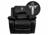 Troy University Trojans Black Leather Rocker Recliner - MEN-DA3439-91-BK-41078-EMB-GG