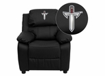 Troy University Trojans Embroidered Leather Kids Recliner - BT-7985-KID-BK-LEA-41078-EMB-GG