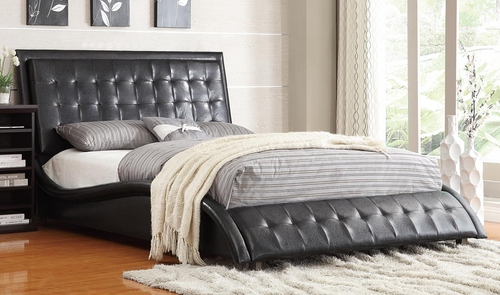 Tully Upholstered Queen Bed in Black - 300362Q