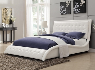 Tully Upholstered Queen Bed in White - 300372Q