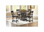 Turks Isle Gathering Table and 4 Counter Stools Black / Brown Cane - Largo - LARGO-WG-D9772-36B-SET