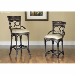 Turks Isle Stationary Stool Black / Brown Cane - Largo - LARGO-ST-D9772-STOOL