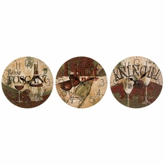 Tuscan Wine Tasting Clocks (Set of 3) - IMAX - 37025-3