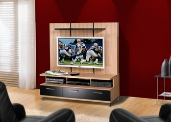 TV Base and Support Panel in Biscotti and Black - Eclipse Collection - Nexera Furniture - 500045
