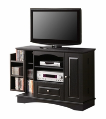 TV Stand - 42 Inch Bedroom TV Console with Media Storage in Black - WQ42BC3BL