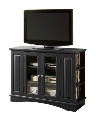 TV Stand - 42 Inch Bedroom TV Console with Side Media Storage in Black - WQ42BC1BL