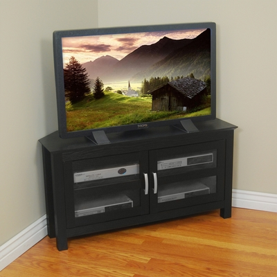 TV Stand - 44 Inch Castillo Corner Wood TV Stand in Black - W44CCRBL