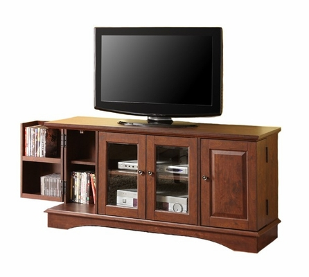 TV Stand - 52 Inch Media Storage Wood TV Console in Traditional Brown - WQ52C4DRTB