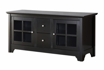 TV Stand - 52 Inch Wood TV Console with 2 Drawers in Matte Black - W52C2DWBL