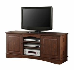 TV Stand - 60 Inch Media Storage Wood TV Console in Traditional Brown - WQ60C73TB