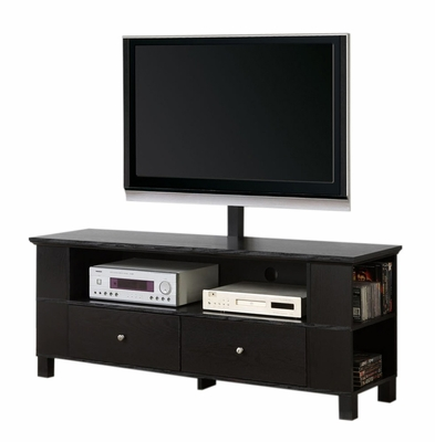 TV Stand - 60 Inch Wood TV Console with Mount and Multi-Purpose Storage in Black - P60CMPBL-MT