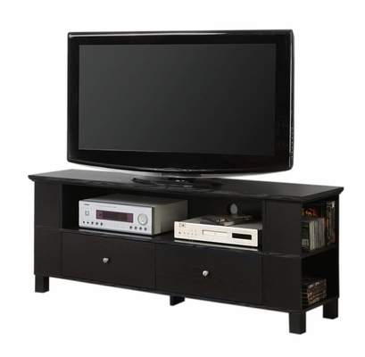 TV Stand - 60 Inch Wood TV Console with Multi-Purpose Storage in Black - P60CMPBL