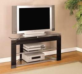 "TV Stand - Black and ""Glossy Silver"" - Powell Furniture - 938-802"