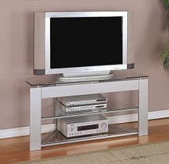 "TV Stand - ""Glossy Silver"" - Powell Furniture - 968-802"