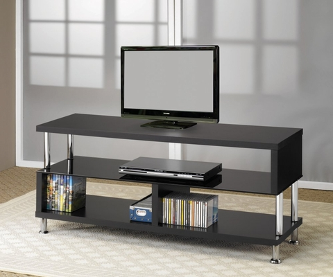 TV Stand in Black / Chrome - Coaster