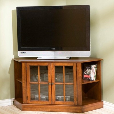 TV Stand - Logan Walnut Corner Media Stand - Holly and Martin