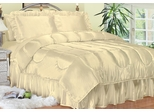 Twin Bed Sheet Set - Charmeuse II Satin 230TC Woven Polyester in Bone - 100TCB2BONE