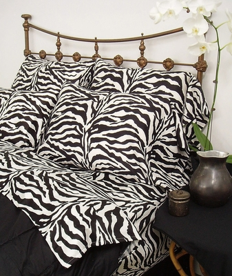 Twin Bed Sheet Set - Wild Life 200TC Cotton Sateen in Black / White Zebra Print - 100TCBWLZEBR