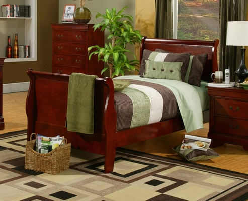 Twin Size Bed - Louis Philippe Twin Size Bed in Cherry - Coaster - 200431T