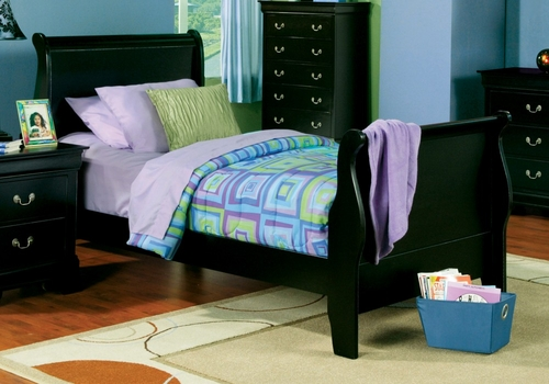 Twin Size Bed - Louis Philippe Twin Size Bed in Deep Black - Coaster - 201071T