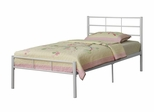 Twin Size Bed - Twin Size Metal Bed Frame in White - BT40WH