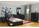 Twin Size Bedroom Furniture Set 71 in Solid Black - Spark - South Shore Furniture - 3270-BSET-71