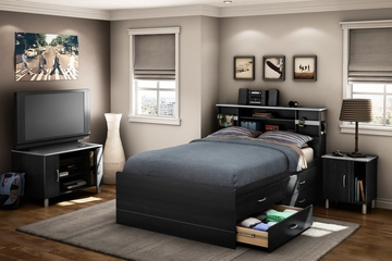 Twin Size Bedroom Furniture Set 72 in Black Onyx/Charcoal - Cosmos - South Shore Furniture - 3127-BSET-72