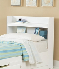 Twin Size Bookcase Headboard in White - My Space, My Place - New Visions by Lane - 866-435