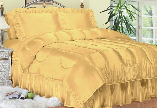 Twin Size Comforter Set - Charmeuse Satin 3-Piece in Gold - 450TW2GOLD
