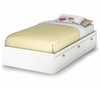 "Twin Size Mates Bed (39"") in Pure White - Sparkling - South Shore Furniture - 3260080"