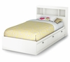Twin Size Mates Bed with Bookcase Headboard in Pure White - Sparkling - South Shore Furniture - 3260080-098