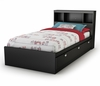 Twin Size Mates Bed with Bookcase Headboard in Solid Black - Spark - South Shore Furniture - 3270080-098