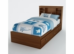 Twin Size Mates Bed with Headboard in Sumptuous Cherry - Willow - South Shore Furniture - 3356212-098
