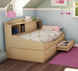 Twin Size Mates Bed with Storage Unit in Maple - South Shore Furniture - 3613219-099
