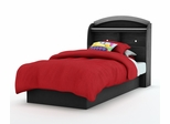 Twin Size Platform Bed with Headboard in Solid Black - South Shore Furniture - 3070-TBED-12