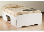 Twin Size Platform Storage Bed in White - Monterey Collection - Prepac Furniture - WBT-4100