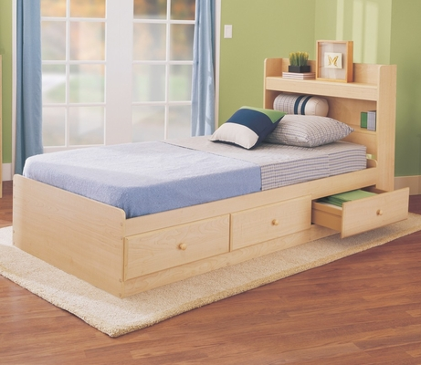 Twin Size Storage Bed in Maple - My Space, My Place - New Visions by Lane - 728-301