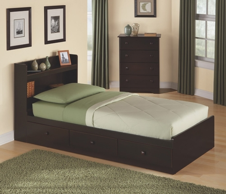 Twin Size Storage Bed with Headboard in Walnut - My Space, My Place - New Visions by Lane - 316-301-435