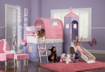 Twin Size Tent Bunk Bed with Slide - Princess Castle - Powell Furniture - 374-069