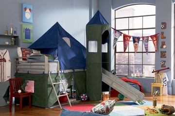 Twin Tent Bunk Bed with Slide - Boys Blue and Green - Powell Furniture - 938-069